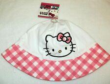091ccbeef1dd4 New Toddler Girls Hello Kitty Bucket Hat White Pink Plaid