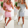 Womens Oversized Short Holiday Tops basic Party Baggy UK Loose Mini Dresses