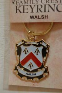WALSH Family KEYRING Coat of Arms - Heraldic Crest - Metal Key Chain