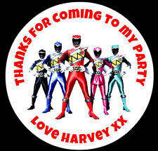 Personalised Power Rangers Round Birthday Party Stickers Sweet Bag Seals Labels
