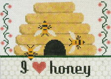 I Love Honey Hand Painted Needlepoint Canvas