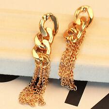 Retro Lady Long Chain Drop Earrings Dress Golden Chain Earrings Elegant Big Sale