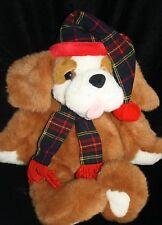 "Commonwealth Xmas Plush 1995 Digby and Dexter St Bernard Dog 20"" Puppy Plaid Hat"