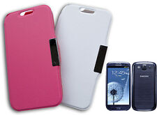 HOUSSE DE COUVERTURE FLIP COMPATIBLE SAMSUNG i9300 GALAXY S3 SIII ROSE BLANCHE Y