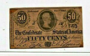 "50 CENT ""CONFEDERATE"" (SUPER CRISPY) ""BLACK SERIALS"" 1800'S 50 CENT (CRISPY)!!"