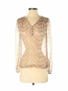 Of Two Minds Women Brown Long Sleeve Silk Top P