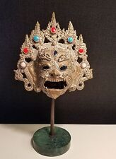 """Vintage Petites Choses Chinese  Siamese Cast Brass jeweled  Head Mask marble 13"""""""