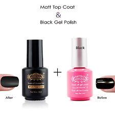 2pcs Nail Art Soak Off Matt Top Coat Finisher UV Gel  Black Gel Nail Polish Set