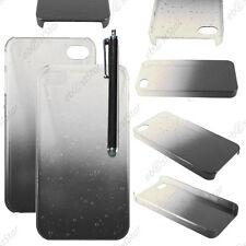 Housse Etui Coque Rigide Motif Gouttelettes Noir Apple iPhone 4S 4 + Stylet