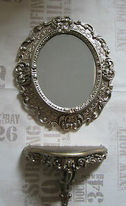 Wall Mirror + Console Oval Bracket Set Baroque Antique 44x38 Silver 1
