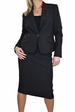 NEW (6399-1) Womens Washable Fully Lined Business Evening Skirt Suit Black 8-16