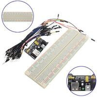 MB-102 830 Point Solderless Breadboard PCB+Power Supply+65pcs Jump Cable Wire UP