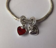 SILVER Double Heart DANGLE CHARM.'MOTHER +DAUGHTER RED Enamel. Crystal inset
