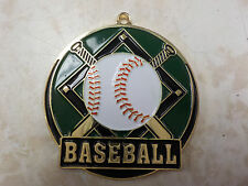 "Baseball medal green background, gold, award, 2"", w/ red, white & blue ribbon"