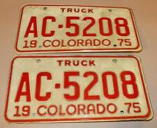 Colorado Truck License Plates 1975 Matching Set AC-5208 Reflectorized White/Red