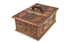 Antique Frisian Chip Carved Divided Cigar Presentation Box, Dutch.
