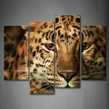 Framed 4 Pcs Leopard Head Home Decoration Canvas Print Wall Art Painting Picture