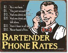 Bartender's Phone Rates Schonberg Retro Funny Wall Bar Decor Metal Tin Sign New
