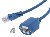 CAT5e RJ45 M/F Ethernet Network Screw Panel Mount Blue Extension Cable