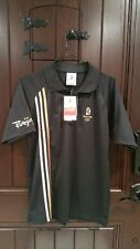 Beijing 2008 Olympics Adidas Black Polo Shirt Gold, Silver & Bronze Stripe Large