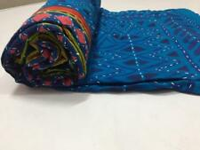 Twin Indian Kantha Quilt Handmade Blue Bedspread Blanket Throw`