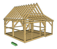 Timber Frame Cabin Plans size 16' x 20' w/porch two doors, plans on 8 1/2x11 new