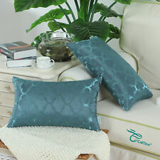 Set of 2 Cushions Covers Pillows Case Cover Quatrefoil Geometric 30X50 Teal