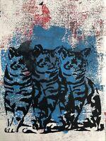 Hasworld original Abstract Crazy Cat Graffiti,Street Pop,like Banksy Kunst