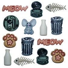 Cat Stuff Paws Milk Bottles Fish Mouse Shank Buttons