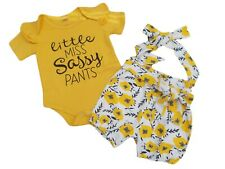 BNWT Baby girls pretty 2 piece yellow body suit and shorts outfit suit clothes
