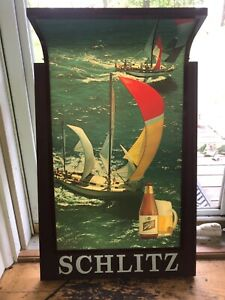 """1967 Lighted SCHLITZ BEER FAUX WOOD Sailboat SIGN  30""""x19""""x10"""" WORKS Well! Nice!"""