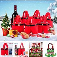 1/20Pcs Christmas Santa Pants Candy Bag Xmas Gift Sweet Sack Red Decor Kids Gift