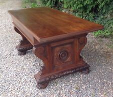 SPANISH STYLE WALNUT REFECTORY DINING TABLE VINTAGE COUNTRY HOUSE CARVED 6 SEAT