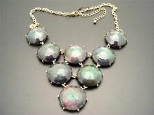 "$22 Nordstrom Faux Black Opal Opalescent Faceted Cabochon Necklace Goldtone 20"""