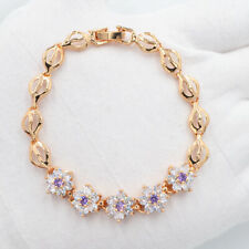 18K Yellow Gold Filled Purple Cute Flower Mystic Topaz Charm Bracelet Jewelry