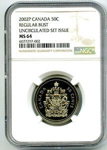 2002 P CANADA 50 CENT HALF DOLLAR REGULAR BUST NGC MS64 UNCIRCULATED