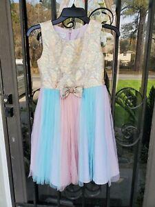 Girls Multicolor Rainbow Bonnie Jean Sleeveless Party Dress Size 12