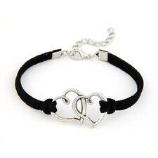 Women's Ladies Silver Sterling Silver Love Heart Link Chain Bangle Bracelet New