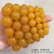 Huge 20mm Yellow South America Topaz Round Beads Stretchy Bracelet Bangle