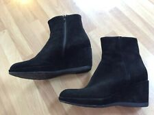 """Hobbs """"Amy"""" Black Suede Leather Wedge Zip Ankle Boots Size UK 8 EU 42 VGC"""