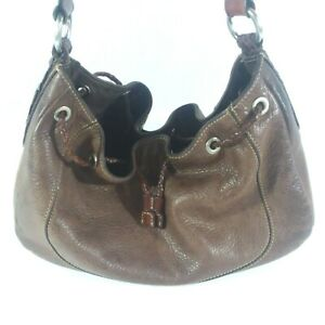 Fossil Brown Taupe Leather Bucket Shoulder / Hand Bag, Woven Handle+Drawstring