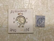 WW2 1942 Netherlands Queen WILHELMINA 10 Cent Silver & STAMP 1872 5 Cent lot
