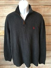 POLO Ralph Lauren Men's Charcoal Gray Half Zip Pullover Sweater XL