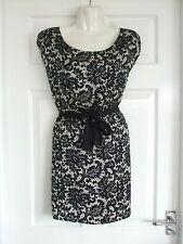 Womens Size 8 Black White Dress LADIES PAISLEY DESIGN WORK SMART SUMMER EVENING