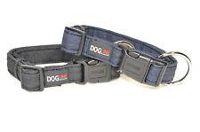 Dogline Denim Jean Soft Padded Quick Release Pet Dog Puppy Collar Black & Blue