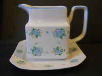 UNUSUAL SQUARE GLASS Teapot Syrup Pitcher with underplate AMES blue flowers