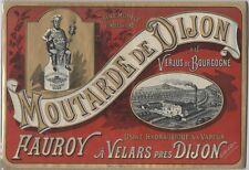 """""""MOUTARDE FAUROY"""" Affiche d'intérieur originale Chromo-litho avant 1900 39x27cm"""