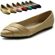Ollio Women's Shoe Ballet Weave Pointed Toe Dress Flat