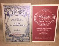 LUCIA DI LAMMERMOOR 1949 Opera Libretto English & Italian plus Memphis Playbill