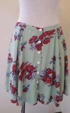 Minkpink Womens Skirt XSmall Button Down Front Mint Red Roses Flowers Cute New
